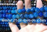 CAA1737 15 inches 10mm faceted round fire crackle agate beads