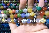 CAA1740 15 inches 10mm faceted round fire crackle agate beads