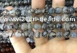 CAA1745 15 inches 12mm faceted round fire crackle agate beads
