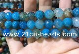 CAA1749 15 inches 12mm faceted round fire crackle agate beads