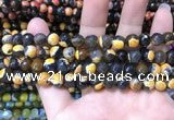 CAA1761 15 inches 8mm faceted round fire crackle agate beads