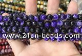 CAA1763 15 inches 8mm faceted round fire crackle agate beads