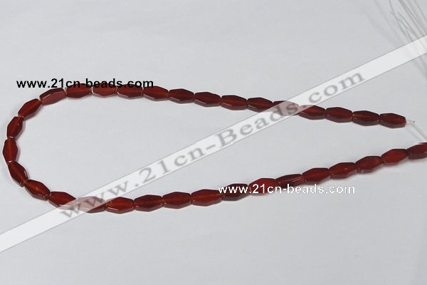 CAA177 15.5 inches 7*12mm hexagon red agate gemstone beads