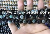 CAA1780 15 inches 10mm faceted round fire crackle agate beads