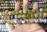 CAA1781 15 inches 10mm faceted round fire crackle agate beads