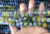 CAA1782 15 inches 10mm faceted round fire crackle agate beads