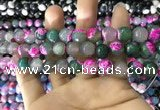CAA1784 15 inches 10mm faceted round fire crackle agate beads