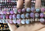 CAA1788 15 inches 10mm faceted round fire crackle agate beads