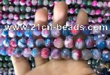 CAA1789 15 inches 10mm faceted round fire crackle agate beads