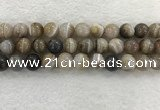 CAA1816 15.5 inches 16mm round banded agate gemstone beads