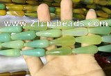 CAA2068 15.5 inches 10*30mm teardrop agate beads wholesale