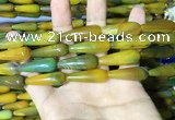 CAA2070 15.5 inches 10*30mm teardrop agate beads wholesale