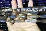 CAA2093 15.5 inches 10*30mm faceted teardrop agate beads