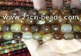 CAA2112 15.5 inches 10*14mm drum agate beads wholesale
