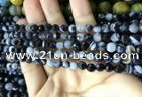 CAA2197 15.5 inches 4mm faceted round banded agate beads