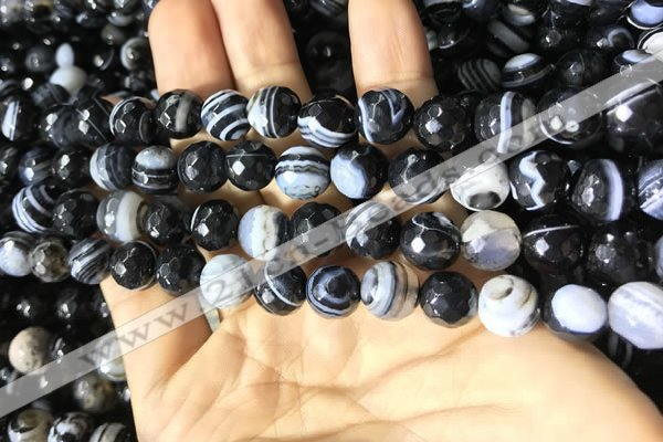 CAA2200 15.5 inches 10mm faceted round banded agate beads