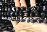 CAA2202 15.5 inches 14mm faceted round banded agate beads
