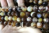 CAA2208 15.5 inches 12mm faceted round banded agate beads