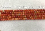 CAA2225 15.5 inches 4mm faceted round banded agate beads