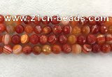 CAA2229 15.5 inches 12mm faceted round banded agate beads