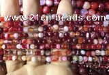 CAA2232 15.5 inches 4mm faceted round banded agate beads