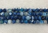 CAA2259 15.5 inches 10mm faceted round banded agate beads