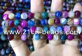 CAA2295 15.5 inches 10mm faceted round banded agate beads