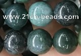 CAA2359 15.5 inches 10mm round moss agate beads wholesale