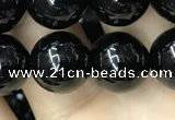 CAA2406 15.5 inches 12mm round black agate beads wholesale