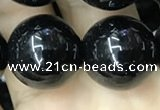 CAA2409 15.5 inches 18mm round black agate beads wholesale