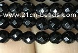 CAA2415 15.5 inches 4mm faceted round black agate beads wholesale