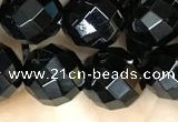 CAA2419 15.5 inches 12mm faceted round black agate beads wholesale