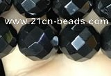 CAA2420 15.5 inches 14mm faceted round black agate beads wholesale