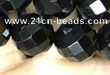 CAA2421 15.5 inches 16mm faceted round black agate beads wholesale
