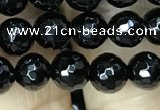 CAA2427 15.5 inches 8mm faceted round black agate beads wholesale