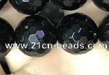 CAA2431 15.5 inches 16mm faceted round black agate beads wholesale