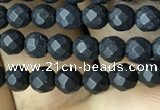 CAA2436 15.5 inches 3mm faceted round matte black agate beads