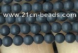 CAA2445 15.5 inches 2mm round matte black agate beads wholesale