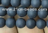 CAA2448 15.5 inches 6mm round matte black agate beads wholesale