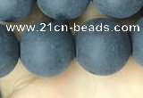 CAA2453 15.5 inches 16mm round matte black agate beads wholesale