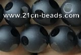 CAA2460 15.5 inches 10mm carved round matte black agate beads