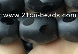 CAA2465 15.5 inches 12*16mm carved rice matte black agate beads