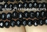 CAA2468 15.5 inches 2*4mm faceted rondelle black agate beads