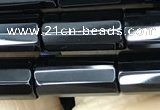 CAA2476 15.5 inches 6*16mm faceted tube black agate beads