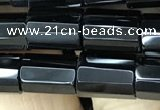 CAA2478 15.5 inches 8*12mm faceted tube black agate beads