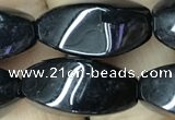 CAA2484 15.5 inches 10*20mm twisted rice black agate beads