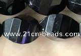 CAA2494 15.5 inches 10*14mm faceted & twisted rice black agate beads