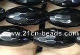 CAA2500 15.5 inches 6*16mm faceted rice black agate beads wholesale