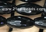 CAA2501 15.5 inches 8*16mm faceted rice black agate beads wholesale