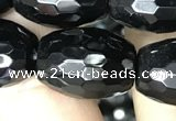 CAA2505 15.5 inches 15*20mm faceted rice black agate beads wholesale